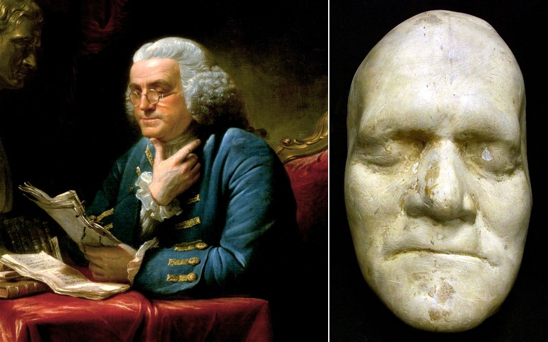 benjamin franklin death mask plaster fat