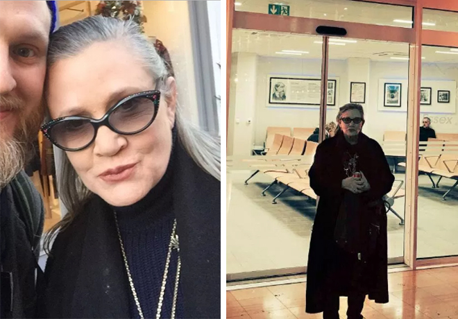 (L) The last known photo of Carrie Fisher taken with a fan in London (R) A photo Fisher posted to her Twitter just two days before her heart attack