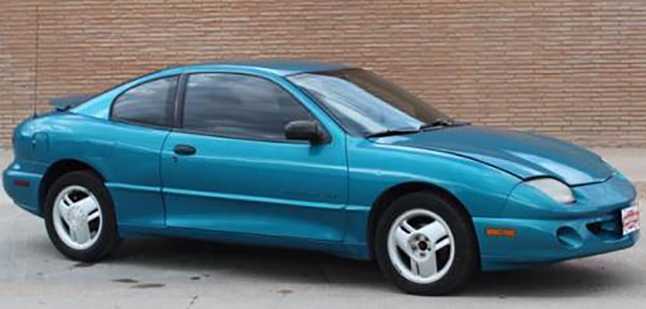 A blue 1997 Pontiac Sunfire similar to the one Jones was driving. Please note: this is NOT the actual vehicle Jones drove